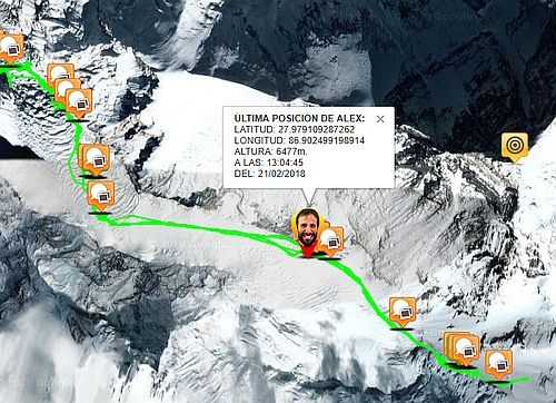 Alex Txikon Everest GPS lokace 21.2.2018